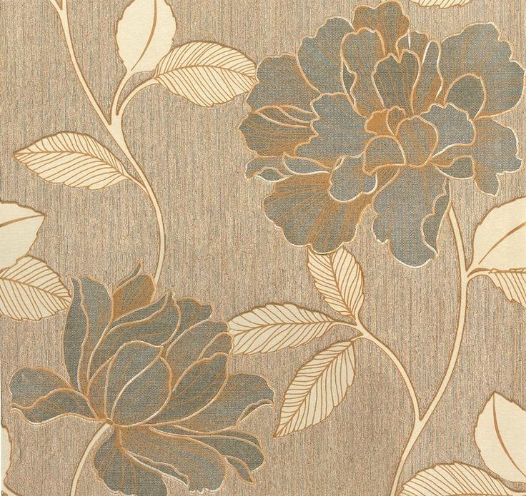 goud bloemen glim vinyl behang 7013-03