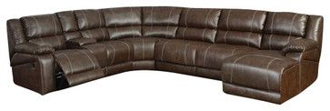 6 pc Miller saddle brown bonded leather sectional sofa with recliners and chaise contemporary-sectional-sofas