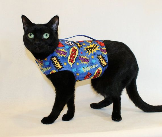 Cat Harness Comic Super Hero Cat Harness pet by RockinDogsCoolCats