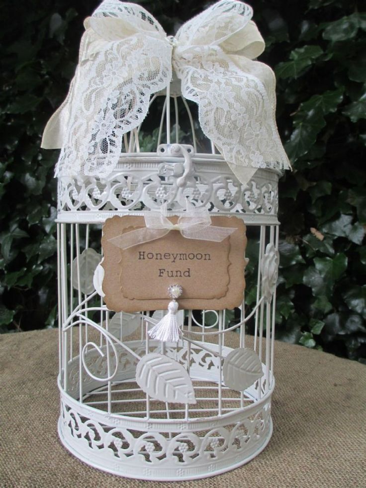 Round Metal Vintage Style Birdcage Honeymoon Fund Gift Card Holder Post Box Decorated With A Ribbon