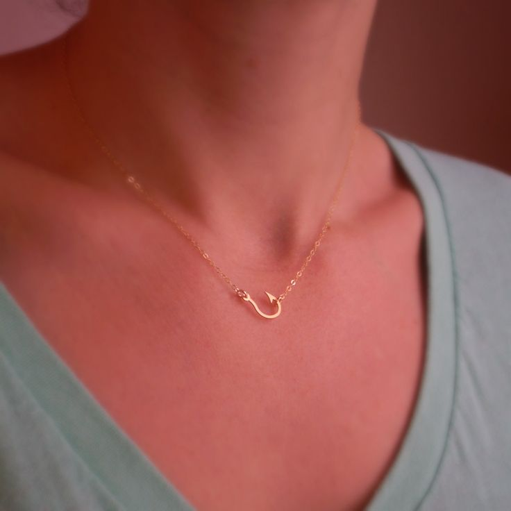 Fish Hook Necklace - Rose Gold Filled, Gold Filled or Sterling Silver. $42.00, via Etsy.