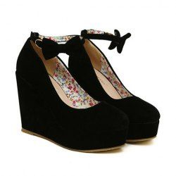 Wedding Women's Wedge Shoes With Bowknot and Buckle Design (BLACK,39) | Sammydress.com
