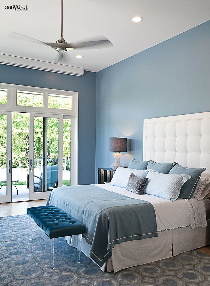 A quiet, cool retreat, the master bedroom is the only room in the house not painted white or gray, 360 West Magazine, June 2015 #interiordesign #homedesign #homedecor #customhomes #texashomes #masterbedroom #bedroom #blue #calm #quiet #relaxing