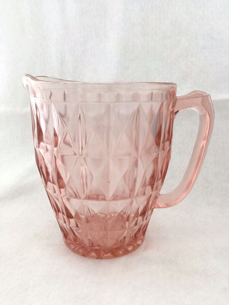 Vintage Pitcher Jeanette Windsor Diamond Pink Depression Glass 40ozRipping Water Collectibles