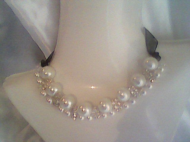 Bisuteria mayoreo, collar con perlas de vidrio $45