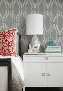 Laura Martin Bovard Interiors   Bedrooms   Phillip Jeffries Arches White On Gray  Wallpaper, West Elm Lacquer Tray, Gray Bedroom, Gray Wallpa.