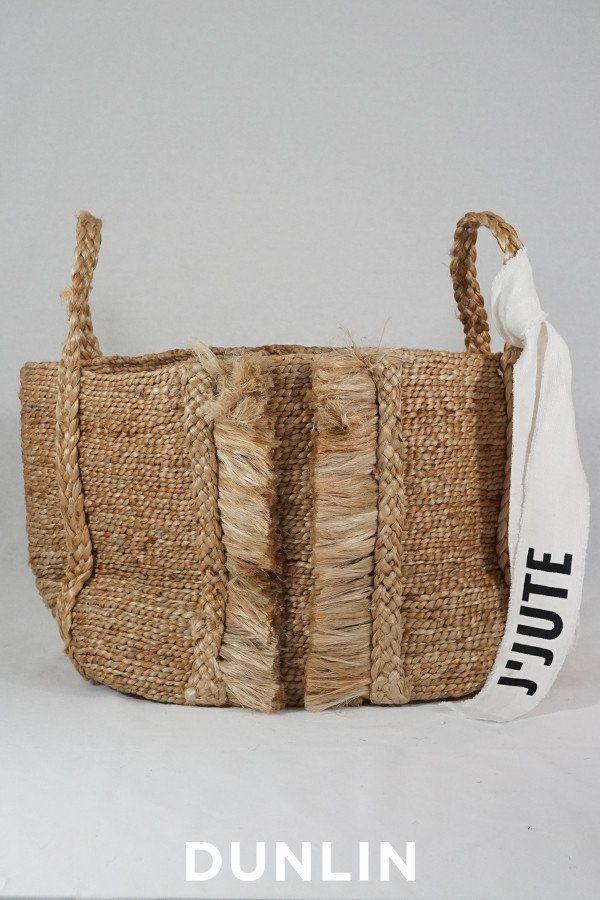 J'Jute Bazar Medium Wide Fringe Jute Basket in Natural