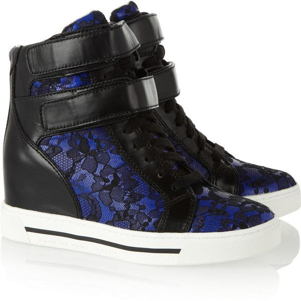 Marc by Marc Jacobs Leather and lace wedge high-top sneakers ($190) ❤ liked on Polyvore featuring shoes, sneakers, wedges, sapatos, heels, blue, velcro sneakers, wedge heel sneakers, high top sneakers and lace up sneakers