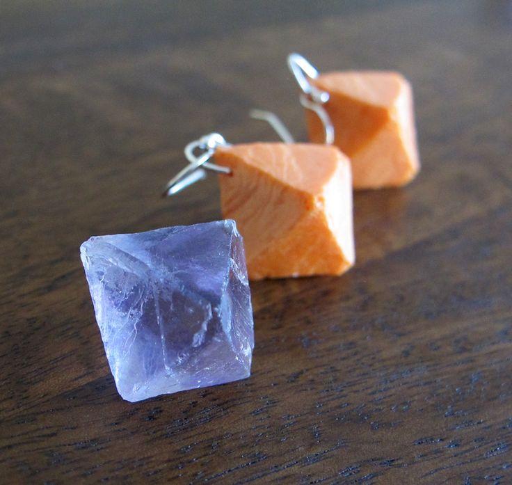 Orange Resin Earrings Handmade - Flourite Octahedron - Jurassic Jewellery by JurassicJewelleryAus on Etsy
