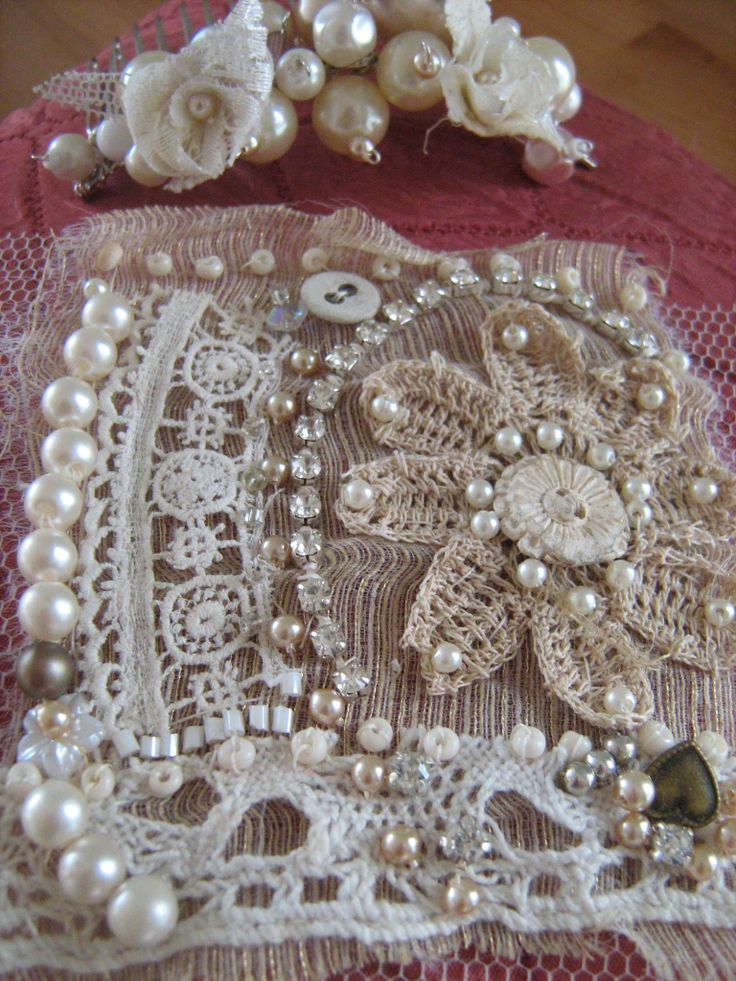 Detail of embroidered vintage cuff and hair pin
