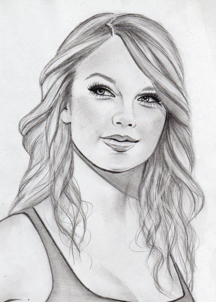 Art beautiful famous girl cute drawing tags face sketch taylor swift freehand good heart pencil long eyelashes taylor pretty