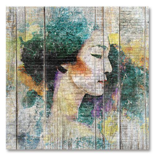 Tableau décoratif street art geisha profil