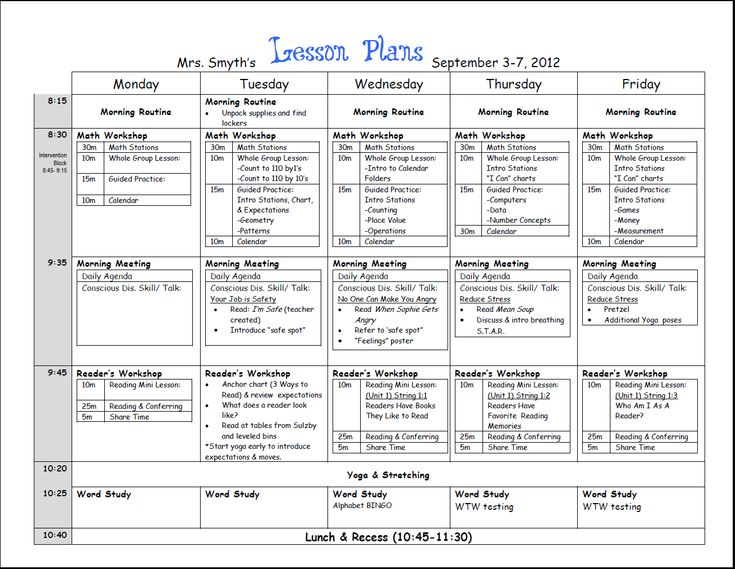 Lesson Plan Format. First Week Lesson Plans (First Grade) Best 10+