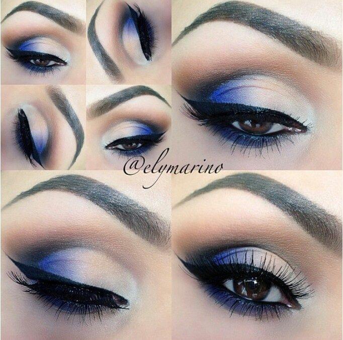 Dark and Blue Ombre Eyeliner || #eyemakeup #bluesmokeyeyes #ombreeyeliner