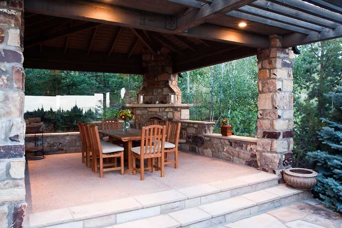 Patio With Corner Fireplace Used As Pillar In Supporting