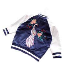 2016 fashion kinderen jassen sport jongen jas bloem meisjes en jongens baseball jas geborduurde pauw kinderen trui jas(China (Mainland))