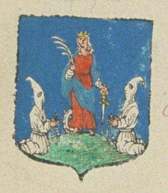 La Confrérie des Pénitens blancs de la ville de Tarascon. Porte : d'azur, à une Sainte-Catherine de carnation, couronnée d'or, à l'antique, vêtue de gueules et d'azur, tenant, de sa main dextre, une palme de sinople, et de sa main senestre, un épée d'argent, la garde et la poignée d'or, la pointe en bas, ayant derrière elle, une moitié de roue d'argent, garnie de pointes de même, et à ses côtés, deux hommes affublés, chacun de son habit de pénitent, d'argent, affrontés, et tenant [...]   N°…