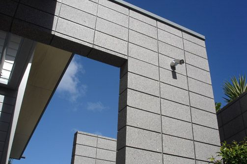 Honed blocks stack bonded columns sealed in a sto matte - Exterior concrete block finishes ...