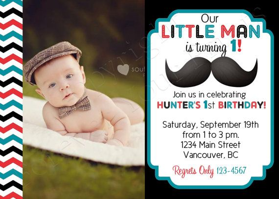 Little Man Mustache Birthday Invitation - FREE Thank You Card included