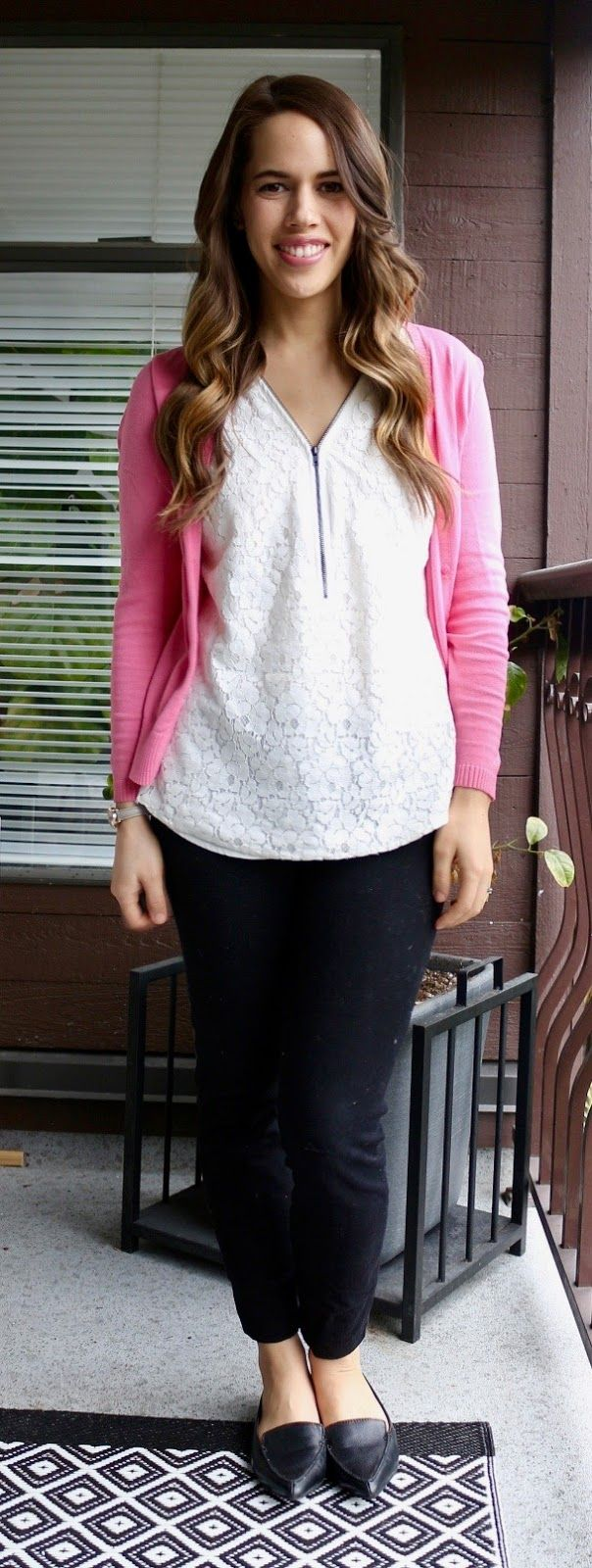 Jules in Flats – Lace Zip Front Tank and Pink Cardigan
