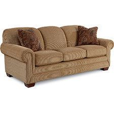 Who says a comfortable sofa can't make a fashion statement too? Mackenzie has an updated style that makes kicking-back look fashion-forward, complete with padded rolled arms and tapered wood legs.