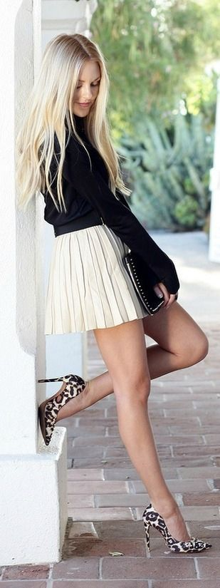 This is super-cute! White pleated mini skirt, black long sleeve shirt with heels. Womens fall fashion clothing street style outfit Cool websites where to buy? http://fancyoutletsale.com , http://hautelook.com . like my pins? like my boards? follow me and I will follow you unconditionally and share you stuff if its pretty and cute :D http://www.pinterest.com/shopfancytemple/: