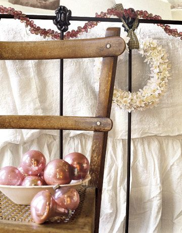 Dusky pink vintage ornaments