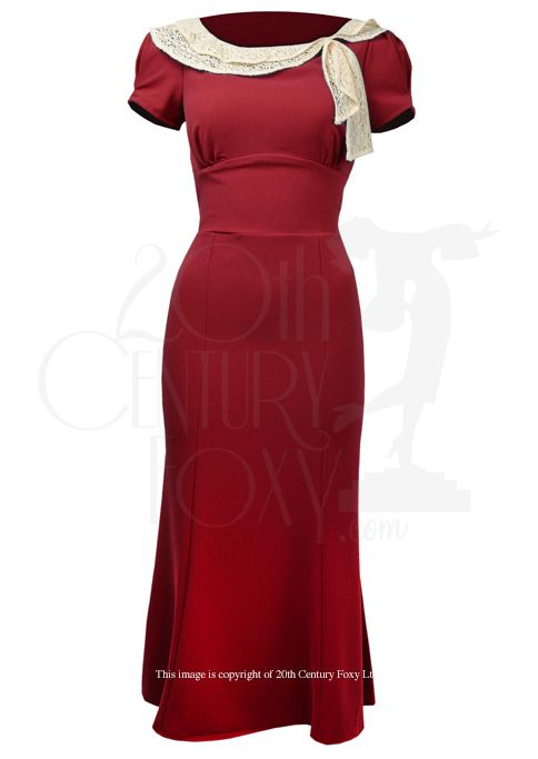 1930s Style Tea Dress in red - The Charm Dress