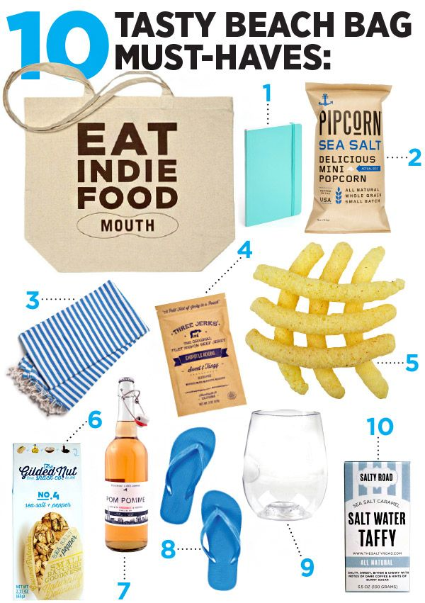 1. To jot down ideas, be prepared with this aqua Poppin notebook. 2. Mini popcorn dusted with olive oil & sea salt. 3. Beach blanket from BRIKA. 4. Tender filet mignon beef jerky spiced with Filipino adobo & Mexican chipotle. 5. Light, crispy, baked Asiago & black pepper cheesy puffs. 6. Box of sea salt & pepper-flecked pistachios. 7. Cider - it's almost like a sparkling rosé. 9. Lightweight & shatterproof stemless glass. 10. Handmade salt water taffy that delivers sea salt & a sweet…