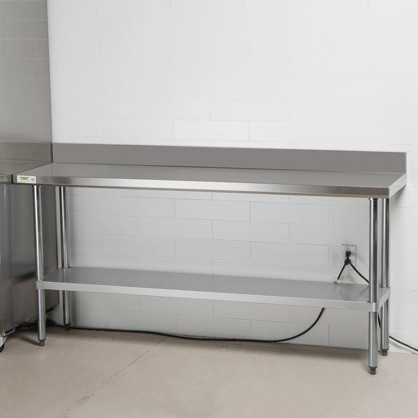 Regency 18 X 72 18 Gauge 304 Stainless Steel Commercial Work Table With 4 Backsplash And Galvanized Undershelf Work Table Backsplash Galvanized