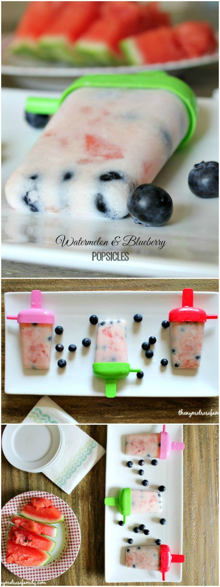 Watermelon & Blueberry Popsicles are the perfect healthy and refreshing treat for your Summer fun.