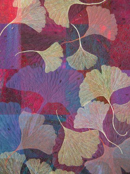 detail Twenty Seven Ginkgoes Quilt by Ann Fahl