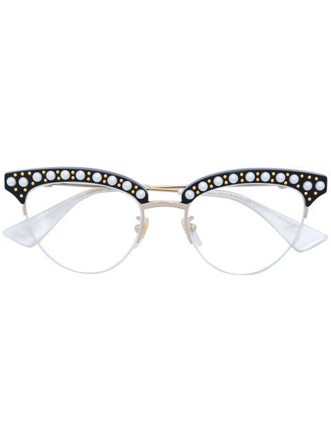 Shop Gucci Eyewear round-frame pearl glasses.  1653068043e