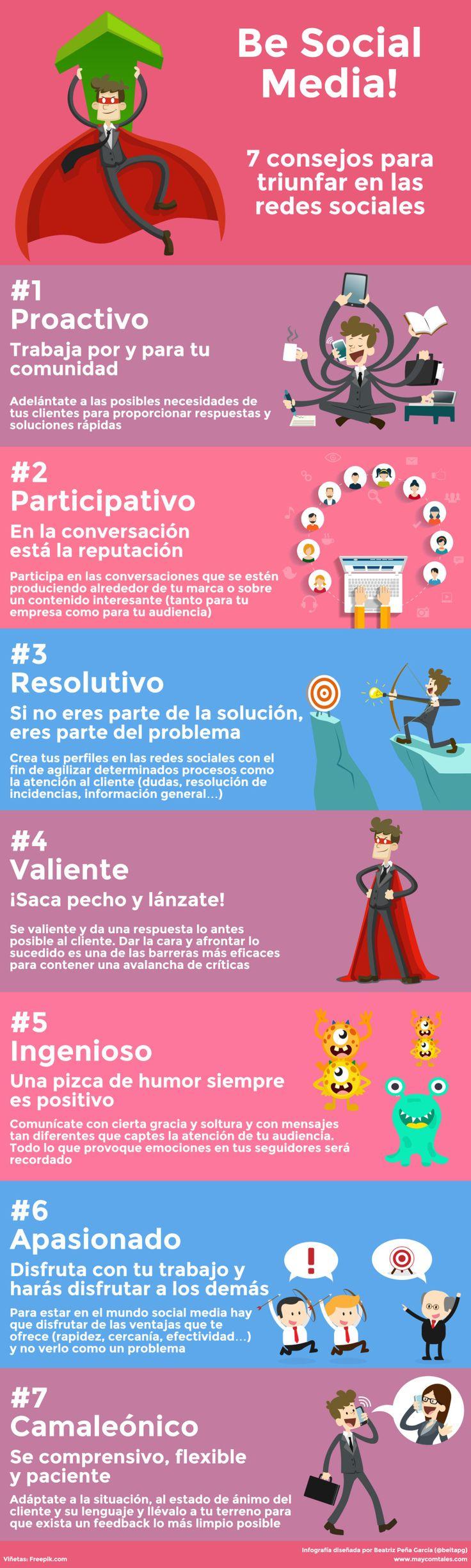 7 consejos para triunfar en Redes Sociales #infografia #infographic #socialmedia