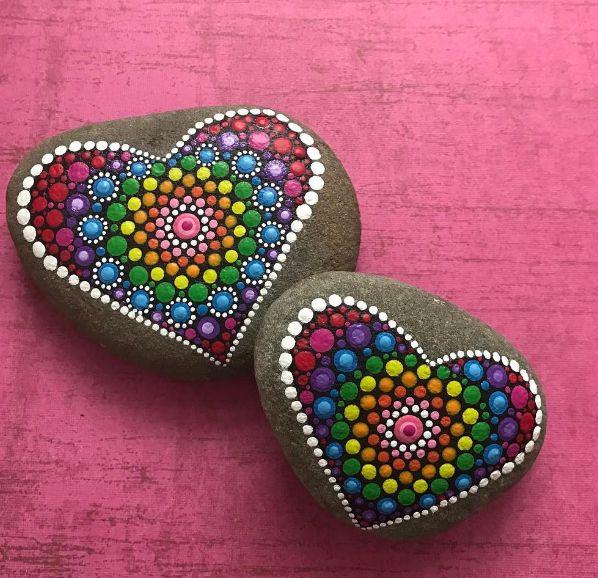 Mandala Hearts on Stone...