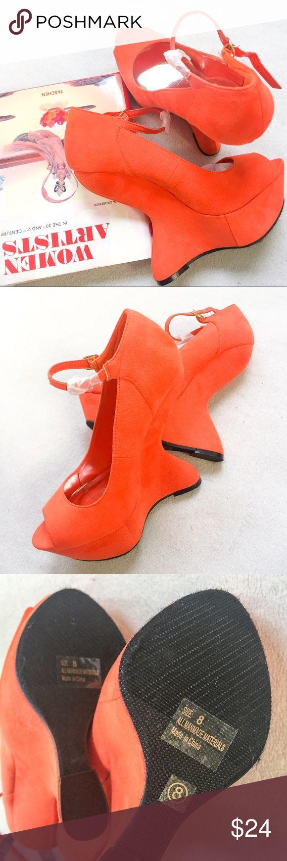 NWOB Avant-Garde Orange Wedges NWOB Avant-Garde Orange Wedges. Never worn. Very high heel-less platform wedge, peep toe & ankle strap design. Breckelles Shoes Platforms