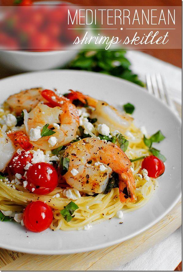 Mediterranean Shrimp Skillet. Fresh and fast - ready in 15 minutes! #dinner