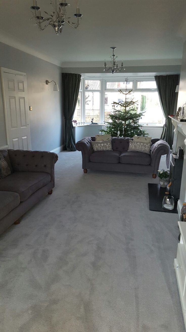 our new lounge with dulux goosedown walls, grey carpet and Sofasofa chesterfield settees. Ikea Curtains (2 pairs) that I had to take up and add header tape to so they would fit the bay window.