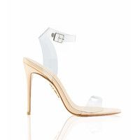 'GHOST'  Clear Straps Nude Leather Sandals