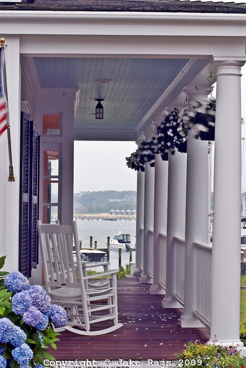 Porch on Martha's Vineyard and love the blue ceiling on front porches...a must.:)