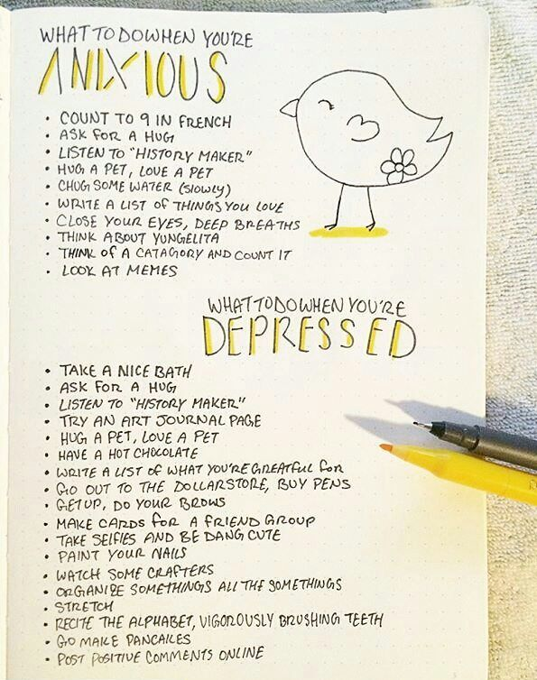 How to use your bullet journal to feel better. Having some solutions for anxiety and depression on a page in your bullet journal is good for your mental health and well being.