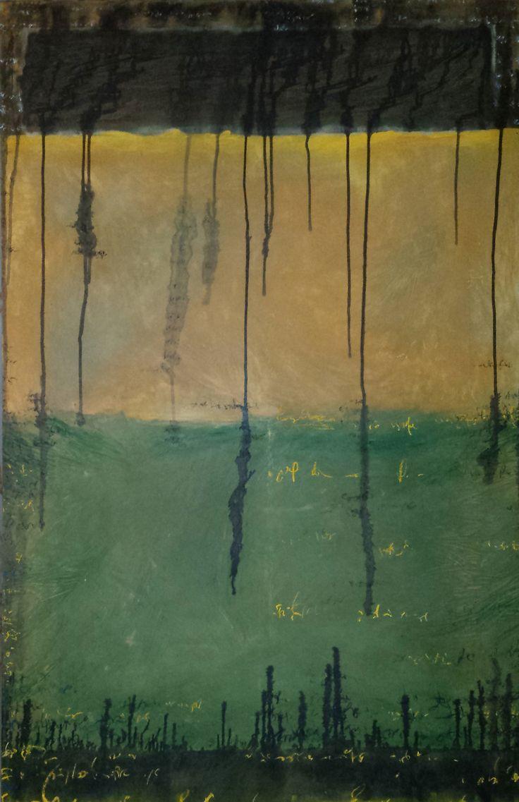 """2014 """"la Parola zittì parole mie"""" Gesso, acrilico, olio e pastello su tela cm. 150 x 100"""