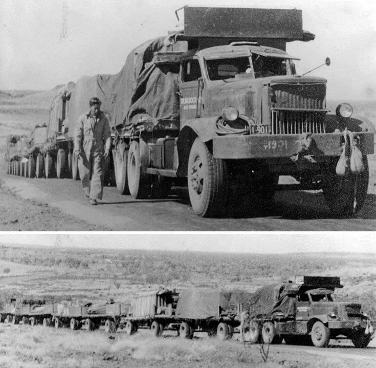 """Diamond T Roadtrain - Powered by either a 895 CID Hercules diesel six making 180 hp, or the legendary 240 hp Hall-Scott 1090 CID """"440"""" gasoline six, the 980 could pull a loaded trailer of up to 120,000 lbs. Top speed was 23 mph!."""