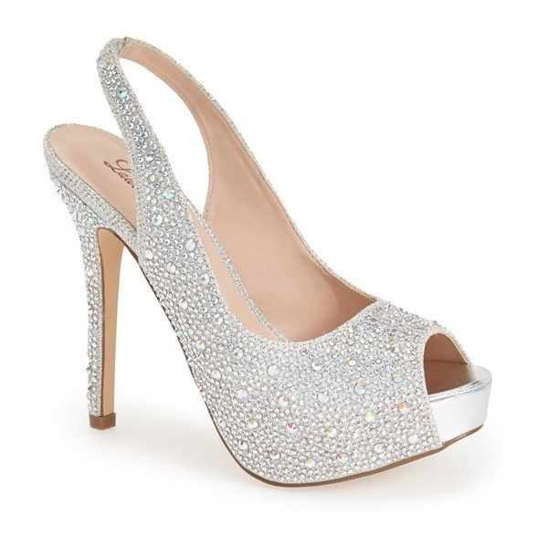 Women's Lauren Lorraine 'Candy' Crystal Slingback Pump (€110) ❤ liked on Polyvore featuring shoes, pumps, heels, sapatos, high heels, silver sparkle, crystal shoes, heel pump, high heeled footwear and crystal pumps