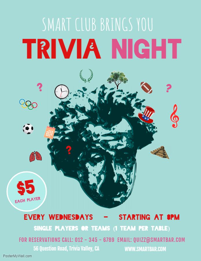 Quiz Night Poster Fundraising Poster Trivia Night Flyer Event Poster Template
