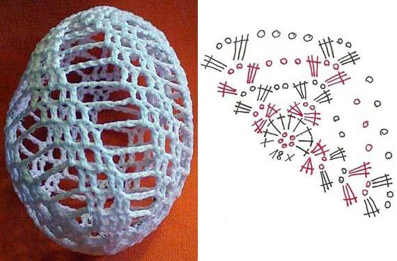 Семь схем обвязки яиц крючком