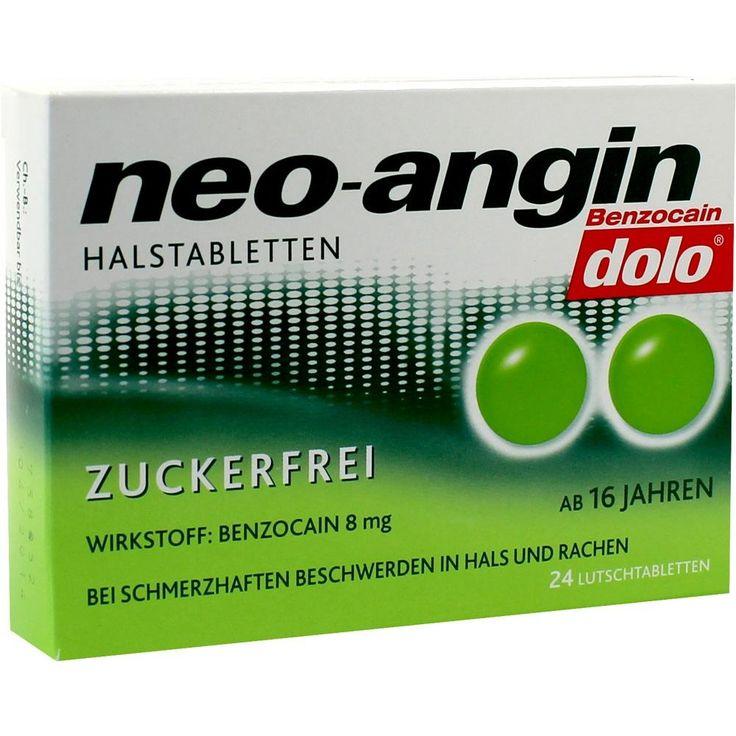 NEO ANGIN Benzocain dolo Halstabletten zuckerfrei:   Packungsinhalt: 24 St Lutschtabletten PZN: 09532980 Hersteller: MCM KLOSTERFRAU…