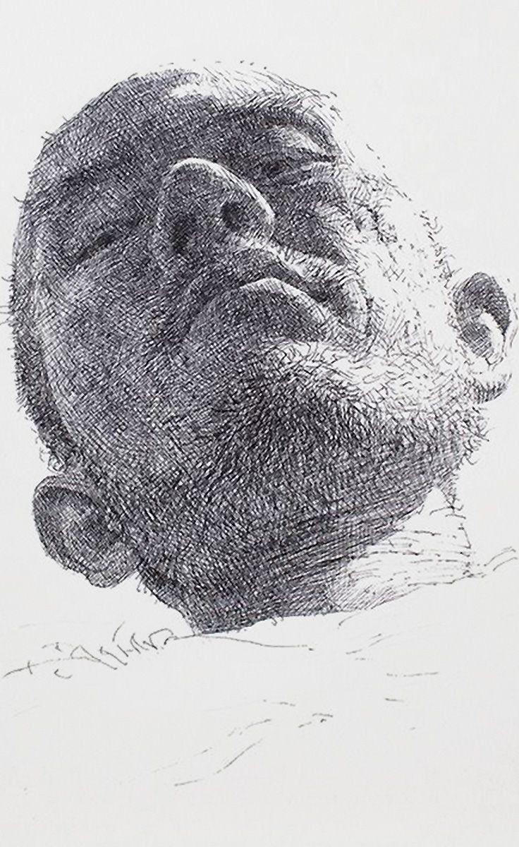 Sam jin Kim, pen on paper male portrait drawing, 2013. Nice line work.