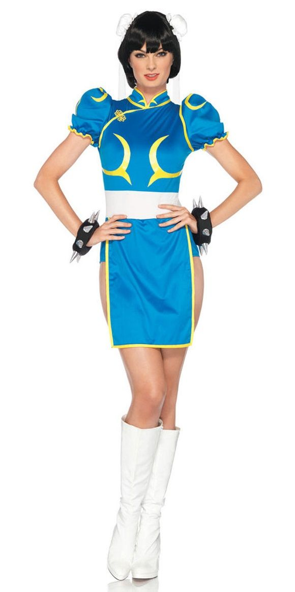 Anime Chun Li Street Fighter Ladies Costume - Wear this Chun Li with Ken or Ryu or other video game characters. It's great for Halloween, an anime or comic book convention. This is a sexy Chun Li costume from Street Fighter. This is a popular video game and anime character.  This is a three-piece costume with a dress, cuffs, and hair pieces. The dress is stretchy and form-fitting with a zipper down the back. #costume #warrior #woman #ladies #yyc #anime #streetfighter #chunli #gaming