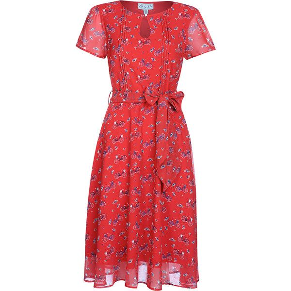 'Bretta' Red Bicycle Print Tea Dress (€30) ❤ liked on Polyvore featuring dresses, red, button dress, short-sleeve dresses, red chiffon dress, chiffon dresses and pleated chiffon dress